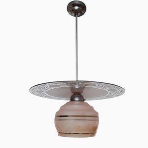 Lampada da soffitto vintage in metallo cromato e vetro rosa e dorato, Germania