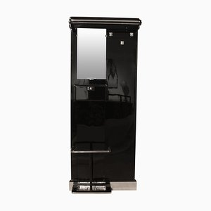 Art Deco Black Lacquered and Chrome Hall Stand, 1930s