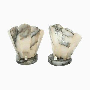Lámparas de mesa Art Deco de alabastro, años 30. Juego de 2