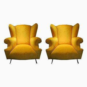 Vintage Italian Wingback Armchairs, Set of 2