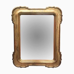 Large Antique Gilded Mirror with Mercury Glass