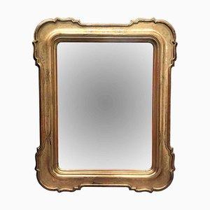 Specchio grande dorato in vetro al mercurio