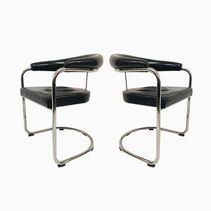Armlehnstühle aus schwarzem Leder & Stahlrohr von Anton Lorenz für Thonet, 1980er, 2er Set