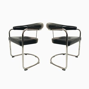 Black Leather and Tubular Steel Armchairs by Anton Lorenz for Thonet, 1980s, Set of 2