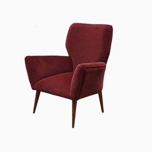 Mid-Century Italian Purple Velvet Armchair, 1950s