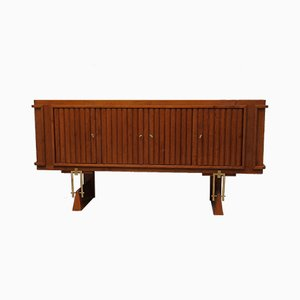 Mid-Century Italian Cherry & Brass Sideboard, 1950s