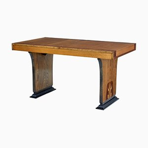 Art Deco Rosewood & Elm Inlaid Dining Table by Erik Chambert, 1930s