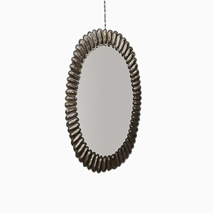 Specchio da parete ovale Mid-Century in vetro e ottone, Italia, anni '50