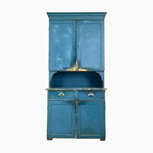 19th-Century Swedish Painted Pine Kitchen Cupboard