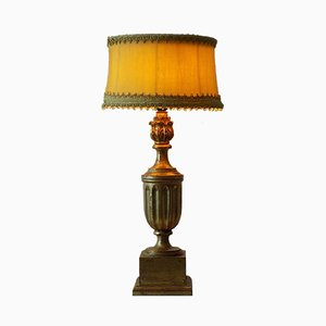 Lampada da tavolo Hollywood Regency in legno dorato
