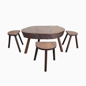 Juego de mesa baja vintage de tronco de árbol y tres trípodes, años 60