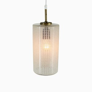 Cylindrical Brass and Glass Pendant Light, 1960s