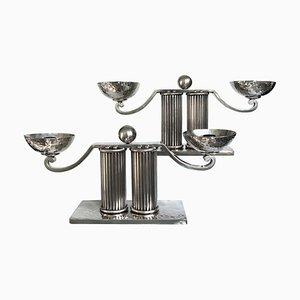 Versilberte Kerzenhalter von Jean Despres, 1960er, 2er Set