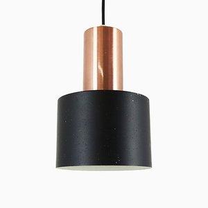 Scandinavian Black Metal and Copper Pendant Lamp, 1960s