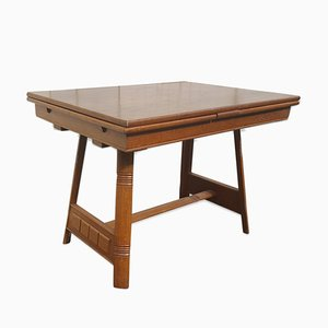 Vintage Solid Wood Extendable Dining Table, 1950s