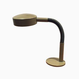 Lámpara de escritorio cuello de ganso en verde oliva de metal de H. Th. J. A. Busquet para Hala, años 70