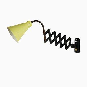 Yellow and Black Scissor Wall Light, 1950s