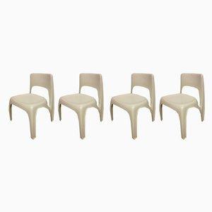 Esstisch & Stühle aus Kunststoff von Preben Fabricius für Interplast, 1970er, 4er Set