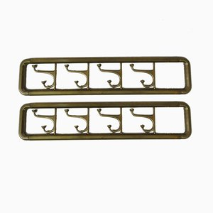 Art Deco Brass Rack with Pivoting Hooks, 1930s, Set of 2
