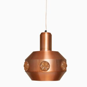Vintage Scandinavian Copper & Glass Ceiling Lamp