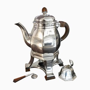 Art Deco Silver Plated Teapot and Warmer Set by Gustave Keller