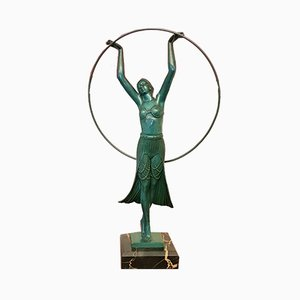 Art Deco Skulptur in Tänzerinnen-Optik von Charles für Max Le Verrier, 1930er