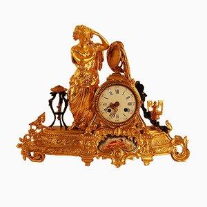 Reloj de pendulo Napoleón III antiguo de bronce dorado y porcelana de Sevres