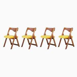 Vintage Esszimmerstühle mit gelbem Samtbezug, 1970er, 4er Set
