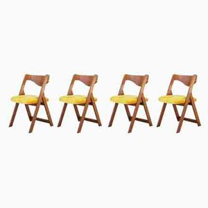 Vintage Yellow Velvet Dining Chairs, 1970s, Set of 4