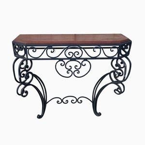 Vintage Wrought Iron and Solid Wood Console Table, 1920s