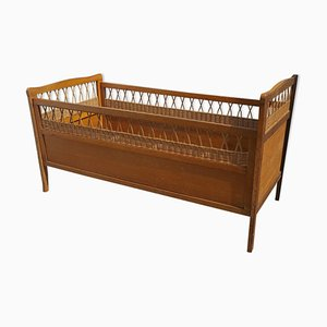 Wood and Rattan Crib, 1960s