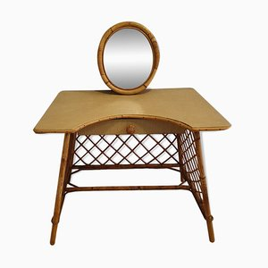 Mid-Century Bamboo & Rattan Dressing Table, 1960s