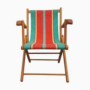 Vintage Wood & Canvas Foldable Armchair, 1960s