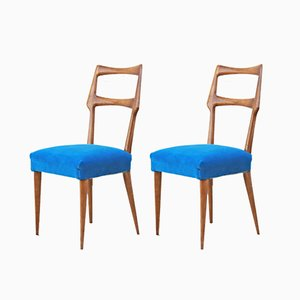 Vintage Italian Velvet Dining Chairs, Set of 2