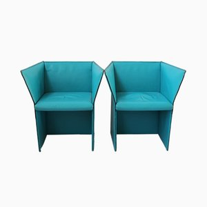 Italian Turquoise Leather Armchairs by Tito Agnoli, 1970s, Set of 2