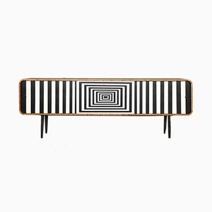 Mid-Century Modern Rounded Walnut Sideboard with Op-Art Pattern, 1960s