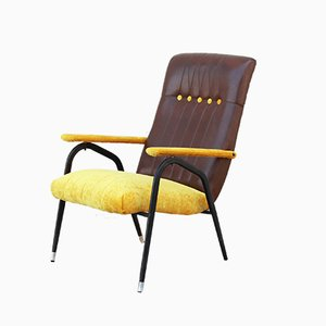Yellow Velvet Lounge Chair, 1960s