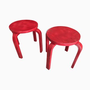 Red Childrens Stools by Alvar Aalto, 1950s, Set of 2