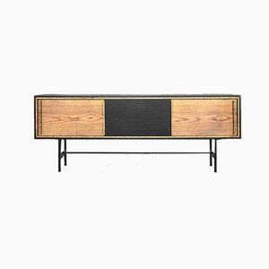 Mid-Century Modern Scandinavian Ash Sideboard with Black Panel, 1960s