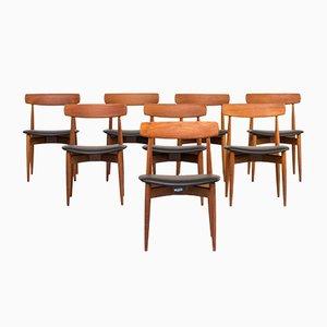Sedie da pranzo in teak di H. W. Klein per Bramin, anni '60, set di 8