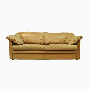Vintage Swedish Aniline Leather Sofa from IRE AB Skillingaryd Mobel, 1970s