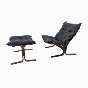 Scandinavian Siesta Lounge Chair & Ottoman Set by Ingmar Relling for Westnofa, 1960s