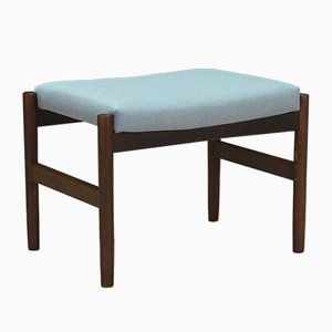 Light Blue Oak Wood Ottoman, 1970s
