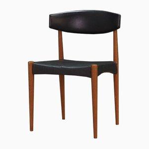 Dänischer Beistellstuhl aus schwarzem Leder, 1970er