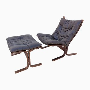 Vintage Siesta Lounge Chair & Ottoman Set by Ingmar Relling for Westnofa, 1960s