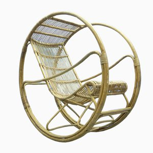 Mid-Century Rattan and Wicker Rocking Chair