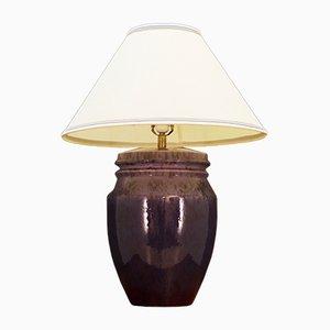 Lámpara de mesa danesa de cerámica morada, años 70