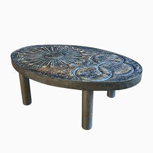 Mesa de centro francesa en forma de sol de cerámica de Francois Chaty para Vallauris, años 60