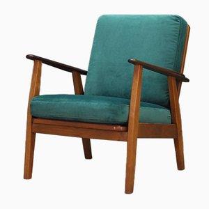 Dänischer Sessel aus grünem Velours & Teak, 1970er