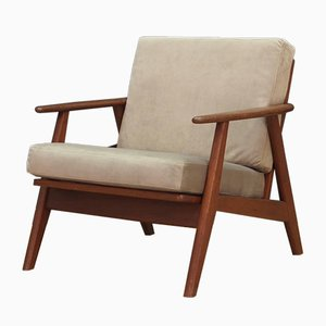 Danish Gray Velour and Teak Armchair, 1970s